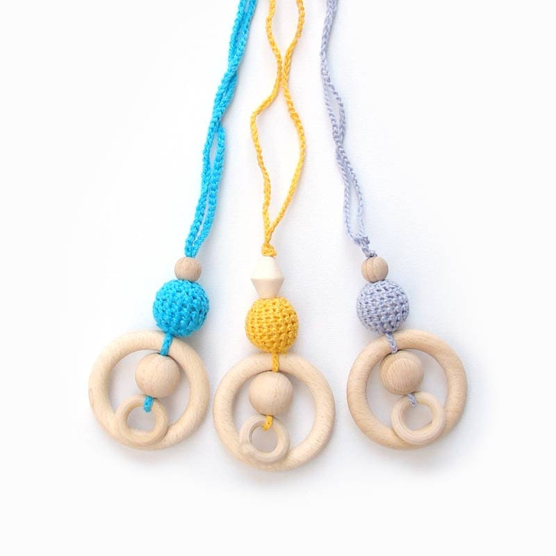 wooden teething ring necklace for baby and mom - ring and blue mint turquoise bead. eco friendly gifts for kids