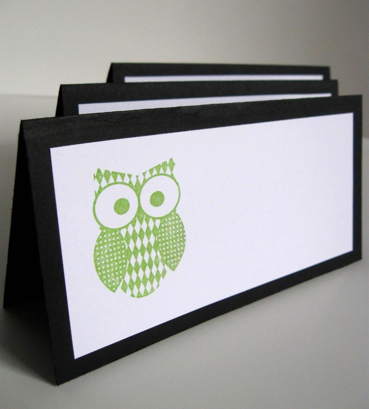 Owl Place Cards, Escort Cards, Tent Cards, Black and Green, Set of 10