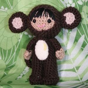 Crochet Pattern- Raquel in a monkey costume amigurumi doll