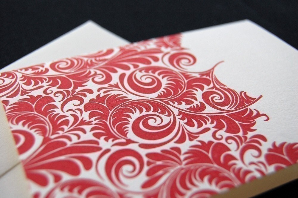 Beautiful red pattern, letterpress greeting card SET