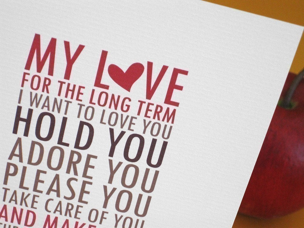 Funny, sexy Valentine or love card / Long term, short term. (CLV-S001)