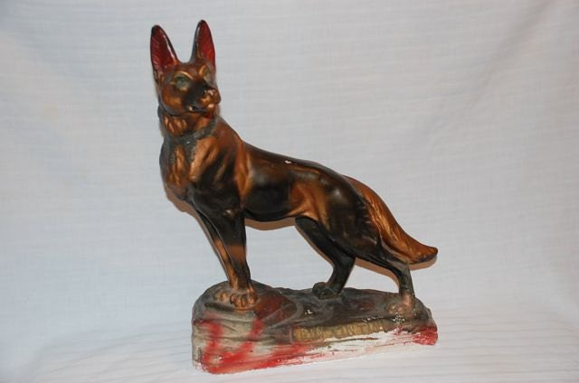 Carnival Chalkware Rin Tin Tin Statue By Vintagetwice On Etsy