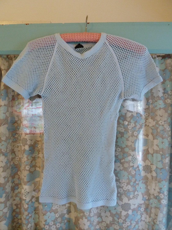 Vintage BABY BLUE Unisex Cotton Mesh T Shirt sz M
