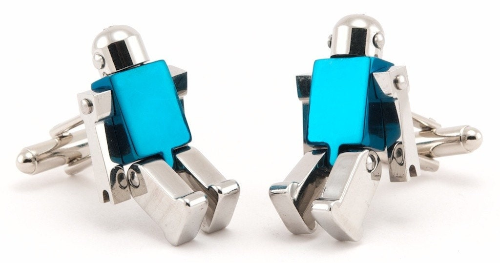 Chrome and Blue Robot Cufflinks with Movable Arms and Legs - Free Cuff Link Box