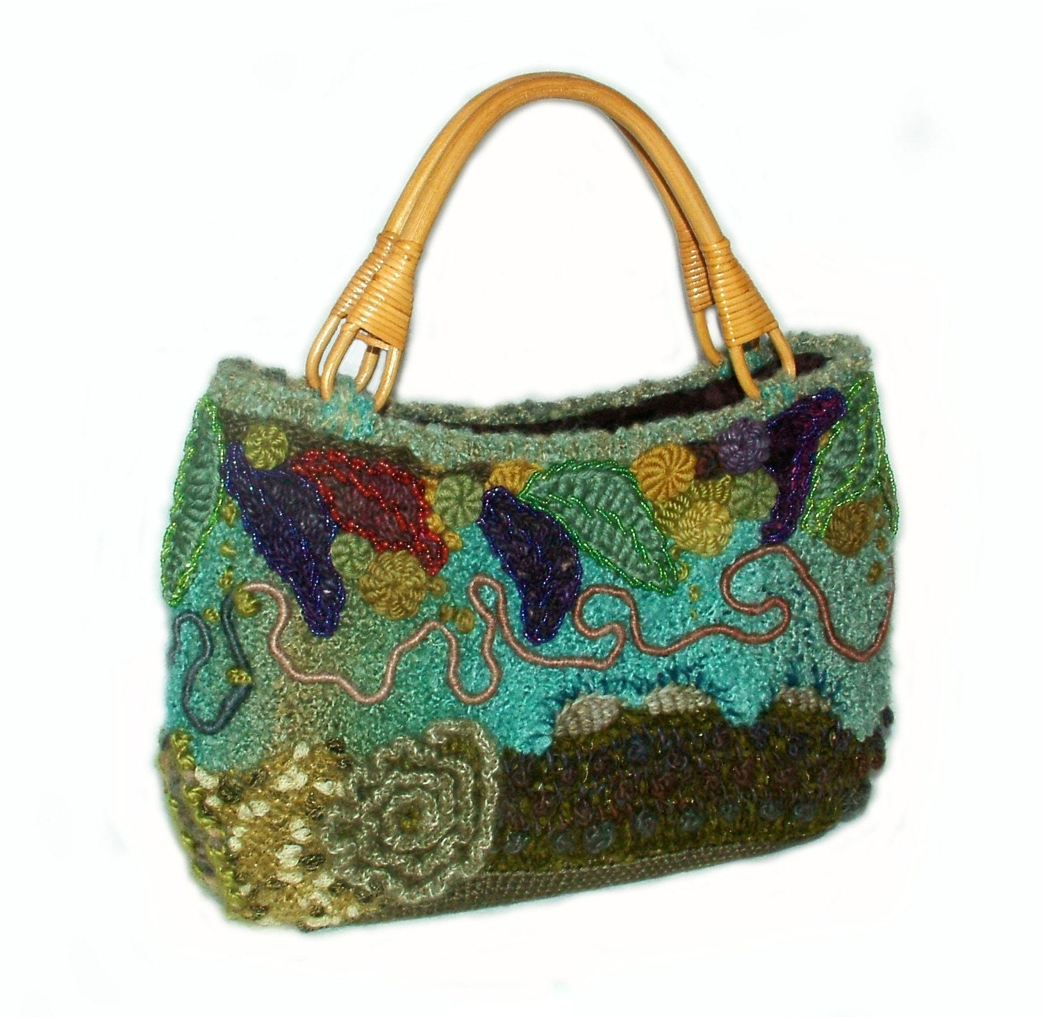 Freeform OOAK Crochet Knit Handbag Carry Bag Tote by rensfibreart