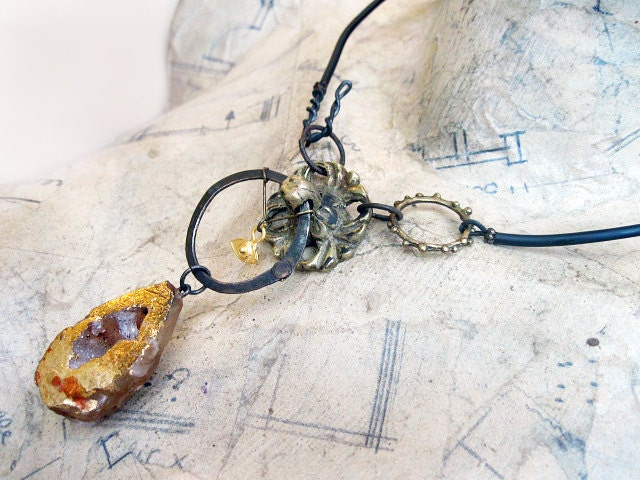 Among Empty Eternities. Cosmic Victorian Tribal Choker with Geode Druzy, Gold Leaf.