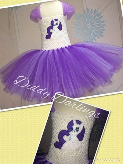 Rarity Tutu Dress. Inspired Handmade Tutu Dress. Embroidered Patch. All Sizes Fully Customised. My Little Pony Tutu Dress. Purple Tutu Dress