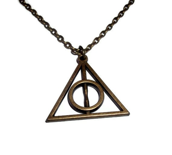 bronze deathly hallows necklace harry by kitschbitchjewellery
