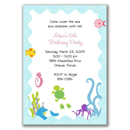 Whimsical Under the Sea Invitations for Birthday Party by milelj