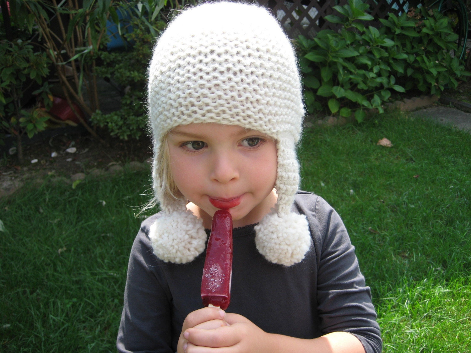 Pearl -  Baby Alpaca Hat in Ecru with Ears and Pom Poms