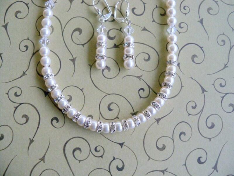 Bridal  Pearls and Crystals Wedding Set