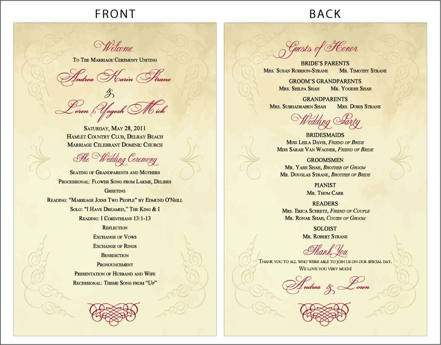 Diy Wedding Scroll Programs