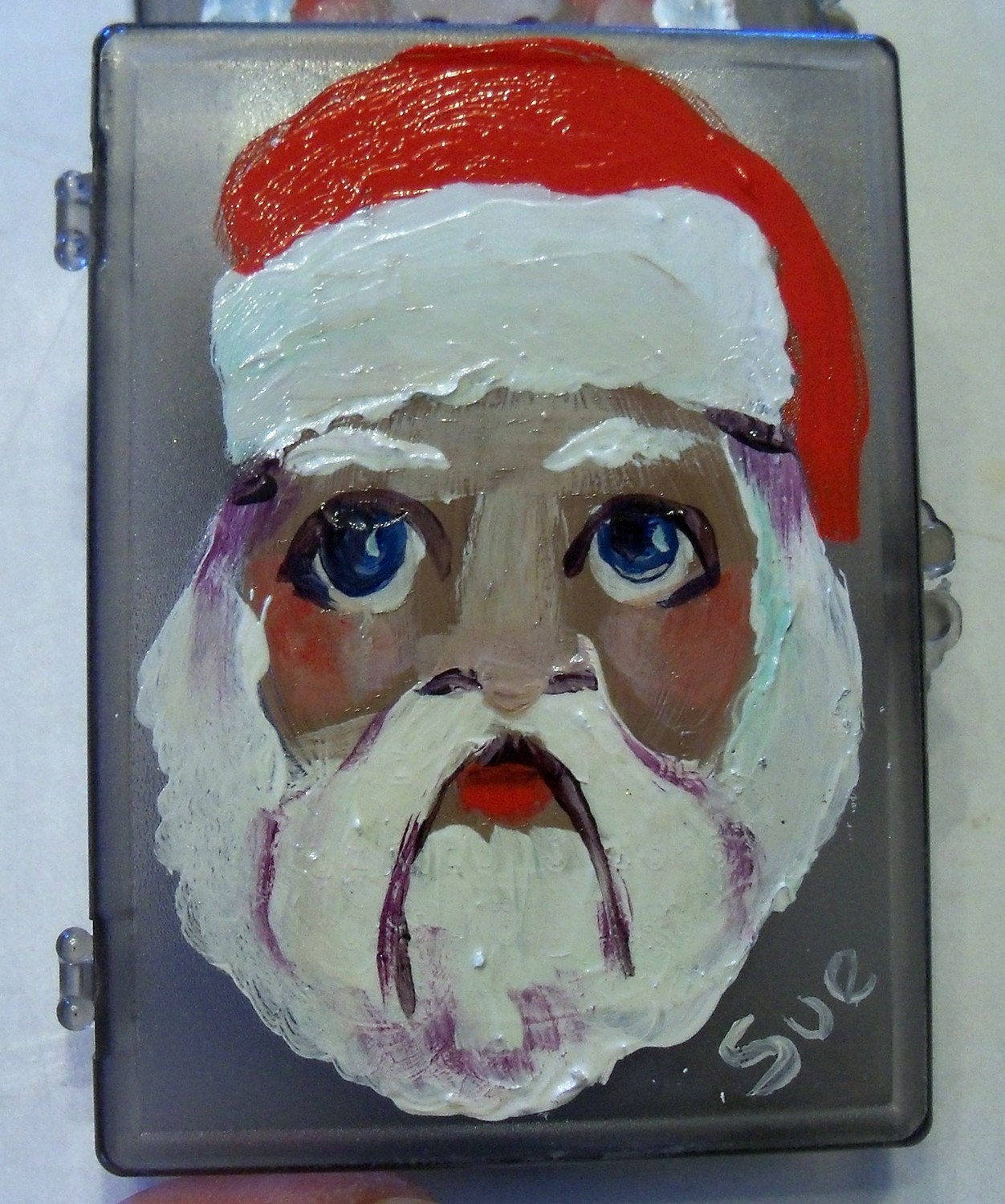 original painting aceo box to hold your art cards.  Christmas Santa