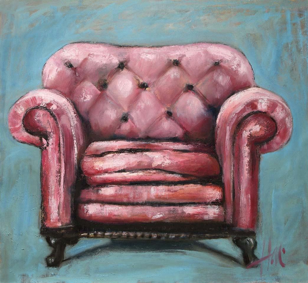 The Pink Chair Original Oil 44x44