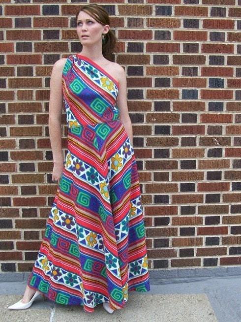 80s LANVIN One Shoulder Art Print Maxi Dress