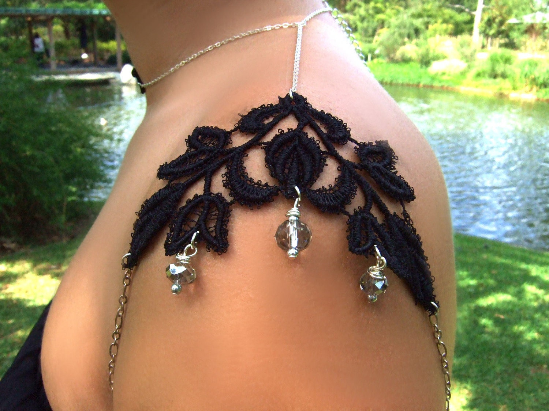Black Lace Vine Серебряный плеча ожерелье