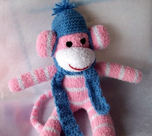 Crochet Hat and scarf set for your Sock monkey