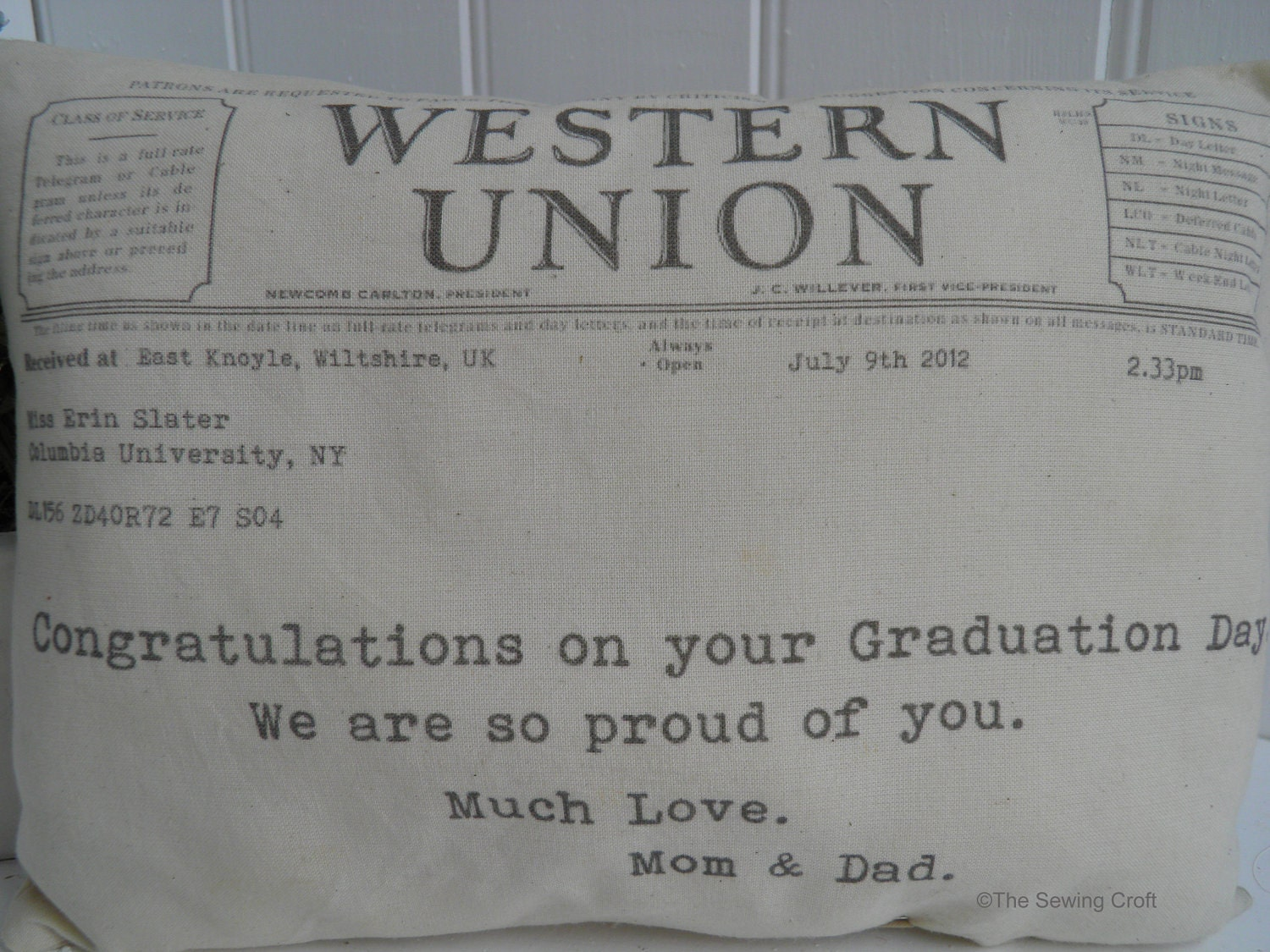 Western Union Telegram Personal Message Pillow Graduation, Birthday, Birth, Celebration