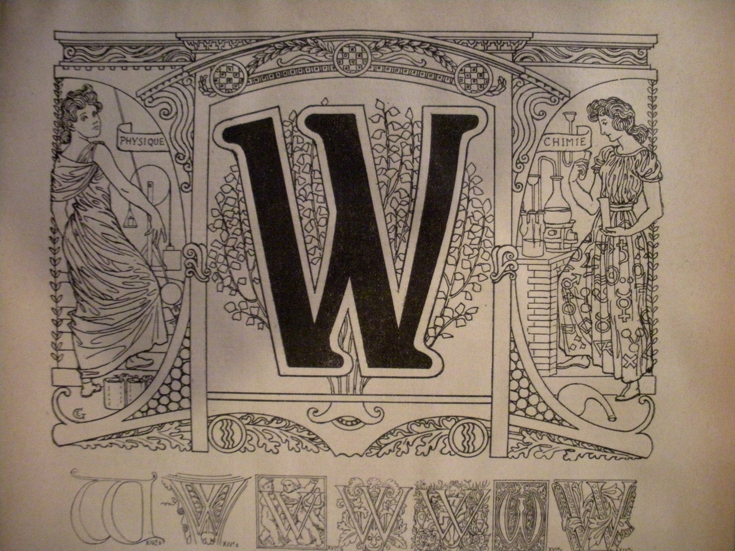 Letter w calligraphy allegory of physics and by foliedujour