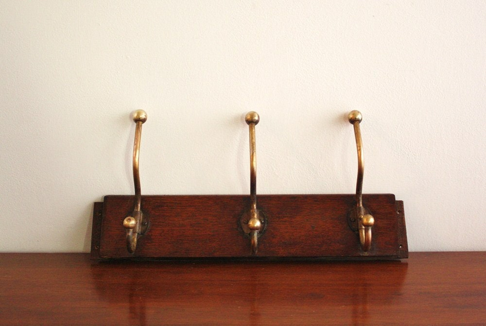 Antique wall mounted wood coat rack by highstreetmarket on