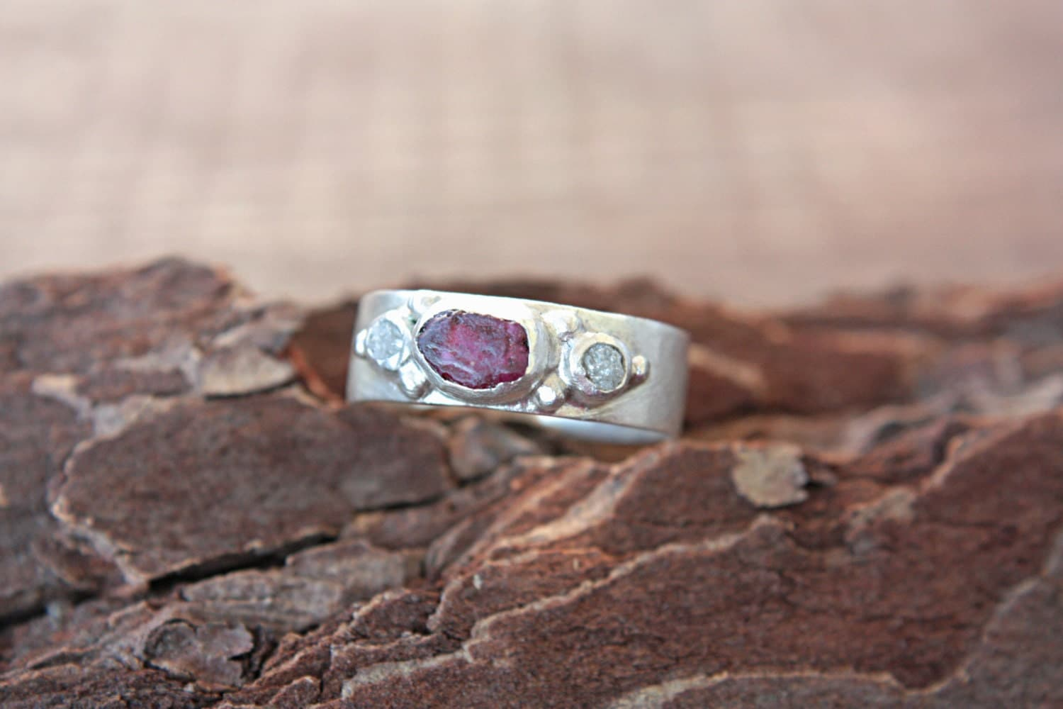 Rough Diamonds Rough Ruby Ring Sterling Silver Raw Diamond Raw Ruby Engagement Ring Size 7 1/4 Silversmithed Metalsmithed - ManariDesign