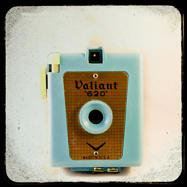 Vintage Camera Photography- retro feel- Camera Love No. 5-   teal and creme TTV photograph of a vintage Valiant 620 camera- 8x8