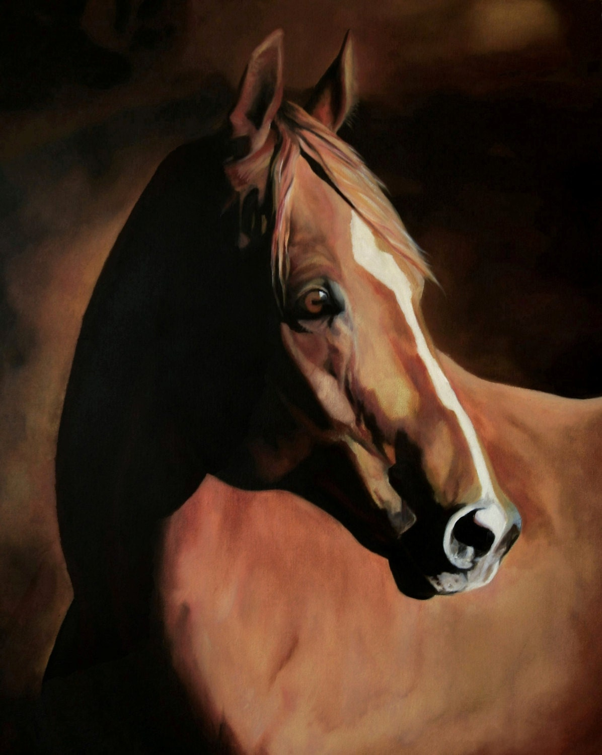 Chestnut Horse Portrait Oil Painting Of A By Conniesonnenberg