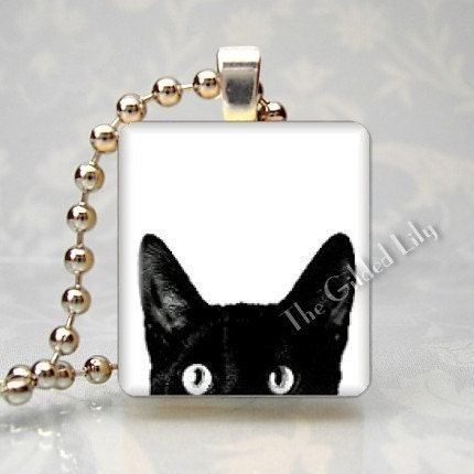 PEEPING TOM CAT - Scrabble Tile Pendant - (Style C1)