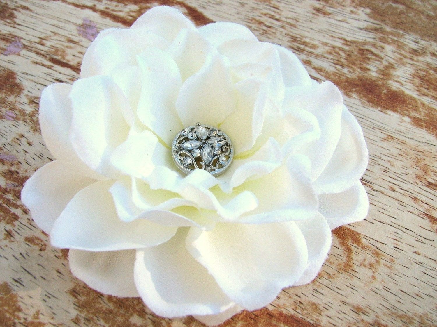 Flower Hair Clip Fascinator Bridal Antique White Gardenia with Rhinestone Button Center