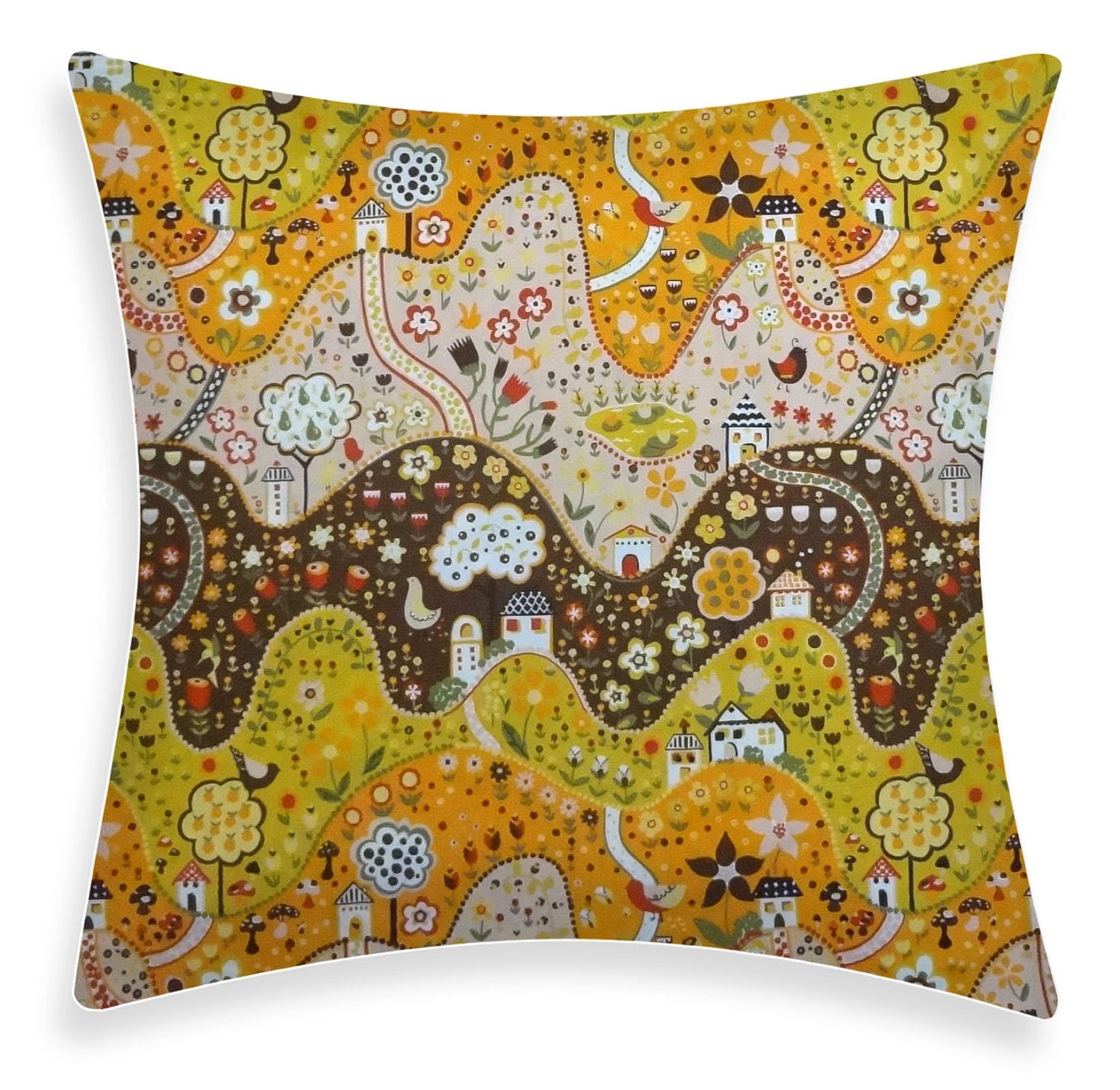 Yellow Brown Throw Pillows : Etsy - Your place to buy and sell all things handmade, vintage, and supplies