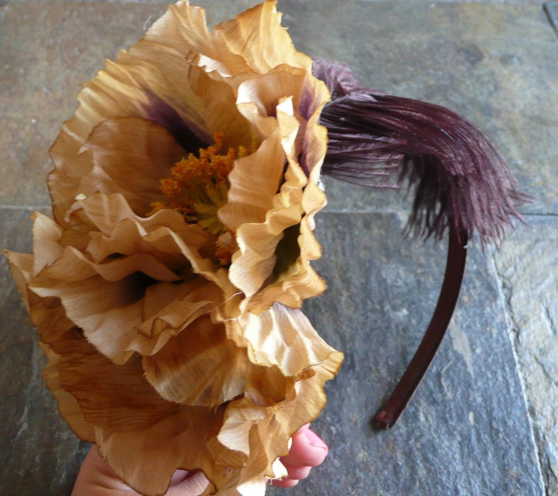 Geraldine- 2 large Tan Poppy w/ Dark Purple Feather on a Dark Brown Satin Headband- Free Worldwide Shipping