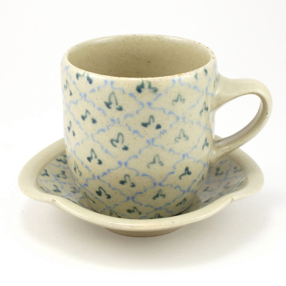 Cup and Saucer with Turquoise and Teal Pattern