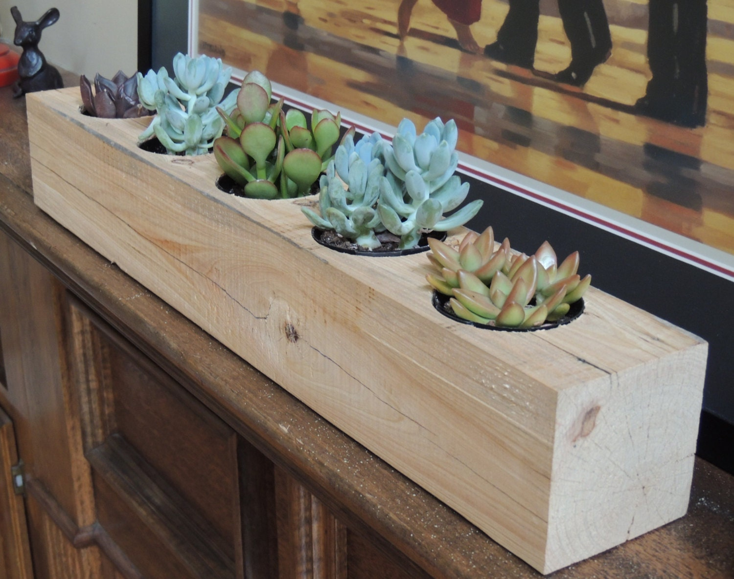 "Reclaimed Cypress Rectangular Succulent Planter / Recyled Wooden Succulent Planter (planter for 5, 2"" plants) by LeBrun Designs - LeBrunDesignsInc"