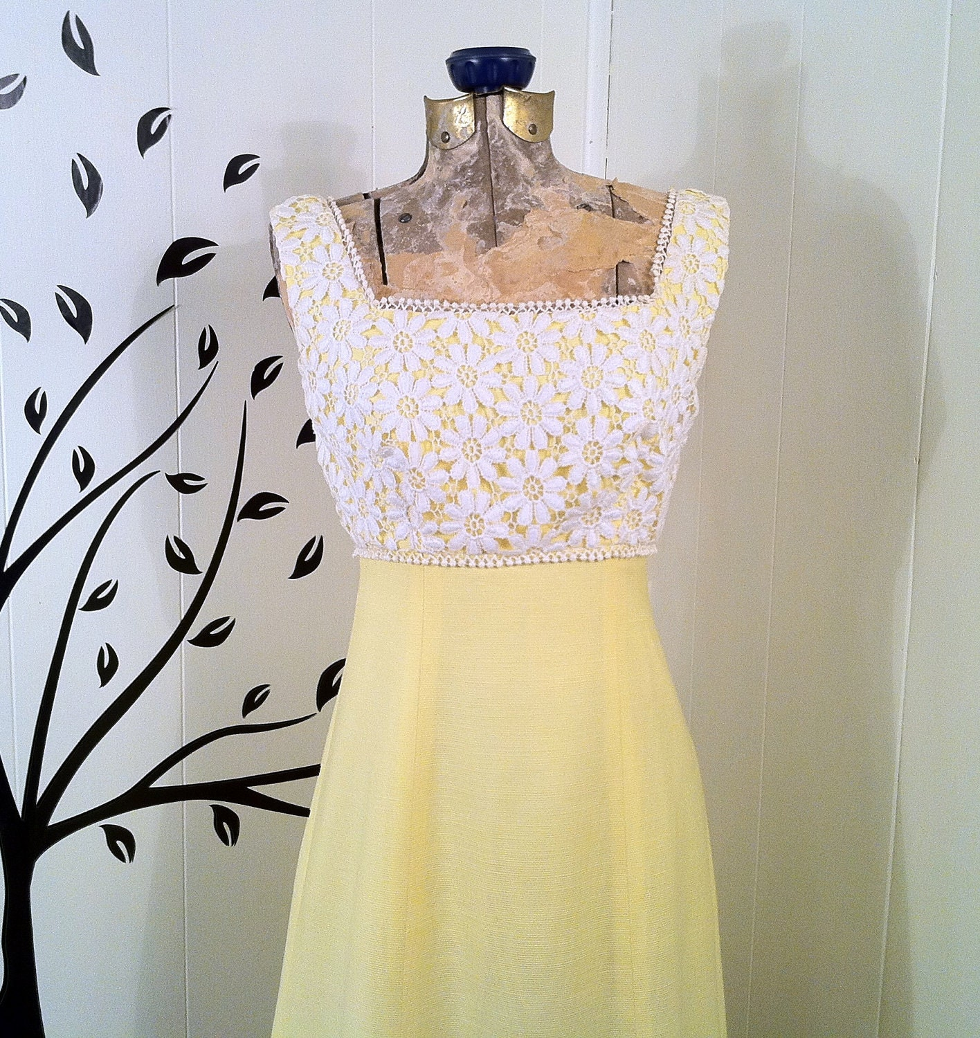 Vintage 1960s Yellow Cotton and Lace Gown with Attached Train, Bridal or Wedding Gown
