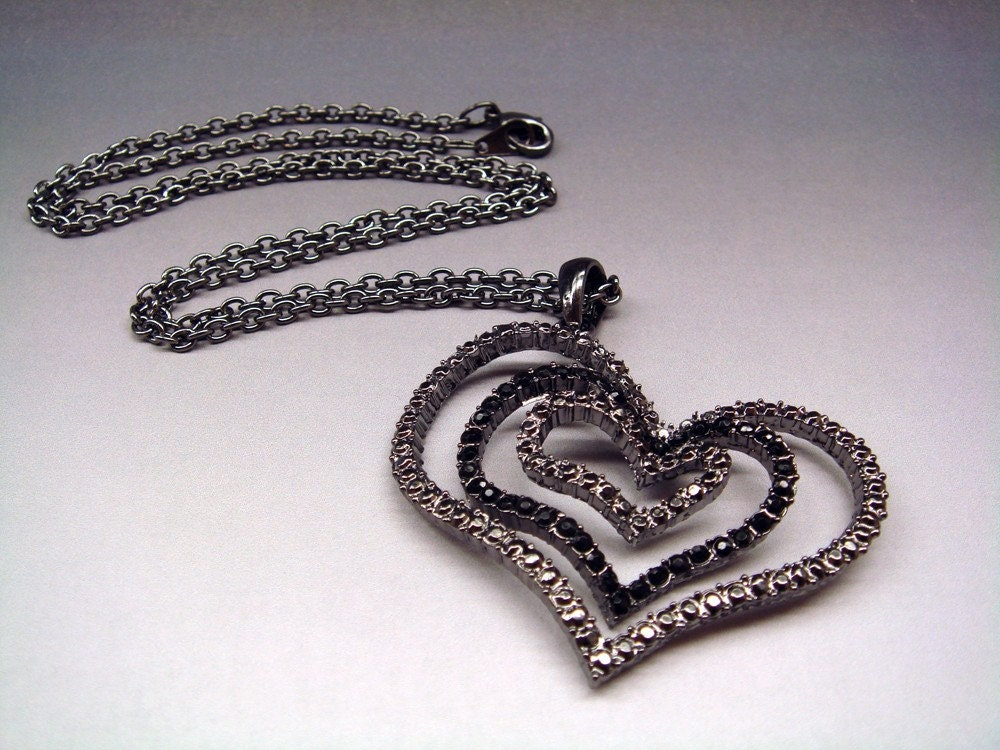 Black Nickel Heart Necklace 21 Inch