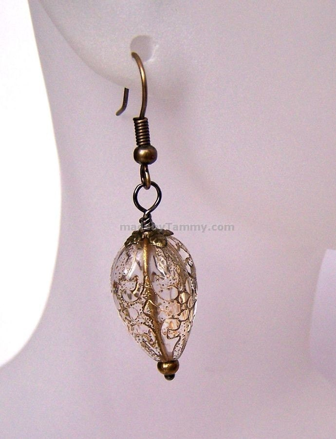 Golden  Pear Drops  Earrings by ArtMadeByTammy on Etsy
