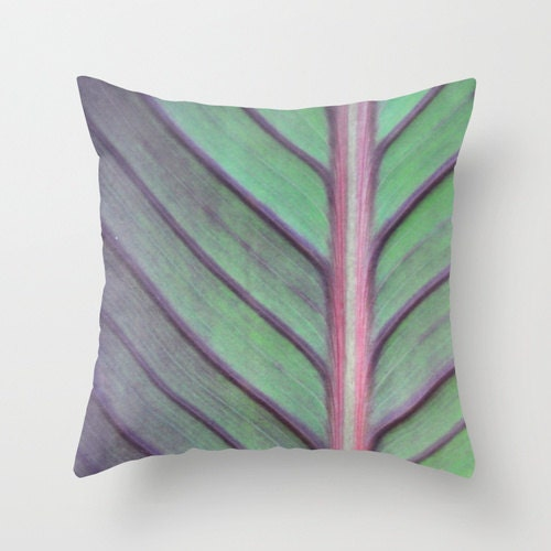 Pillow Cover, Canna Lily Photo Pillow, Green Grey Purple, Bedroom, Living Room, Beach House, Sun Room, Home Decor, Lily 16x16, 18x18, 20x20