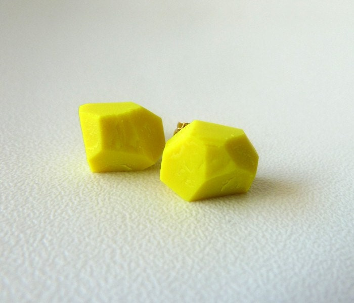 neon yellow geo earrings