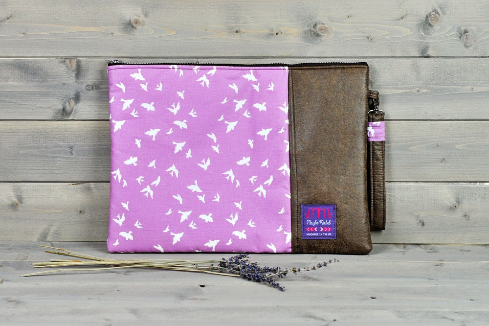 Padded Brown Leather Laptop Sleeve Laptop Case Laptop Bag Skin 11 13 15 inch Macbook Air Pro Retina HP Pavillion Dell Acer Lilac Purple Bird