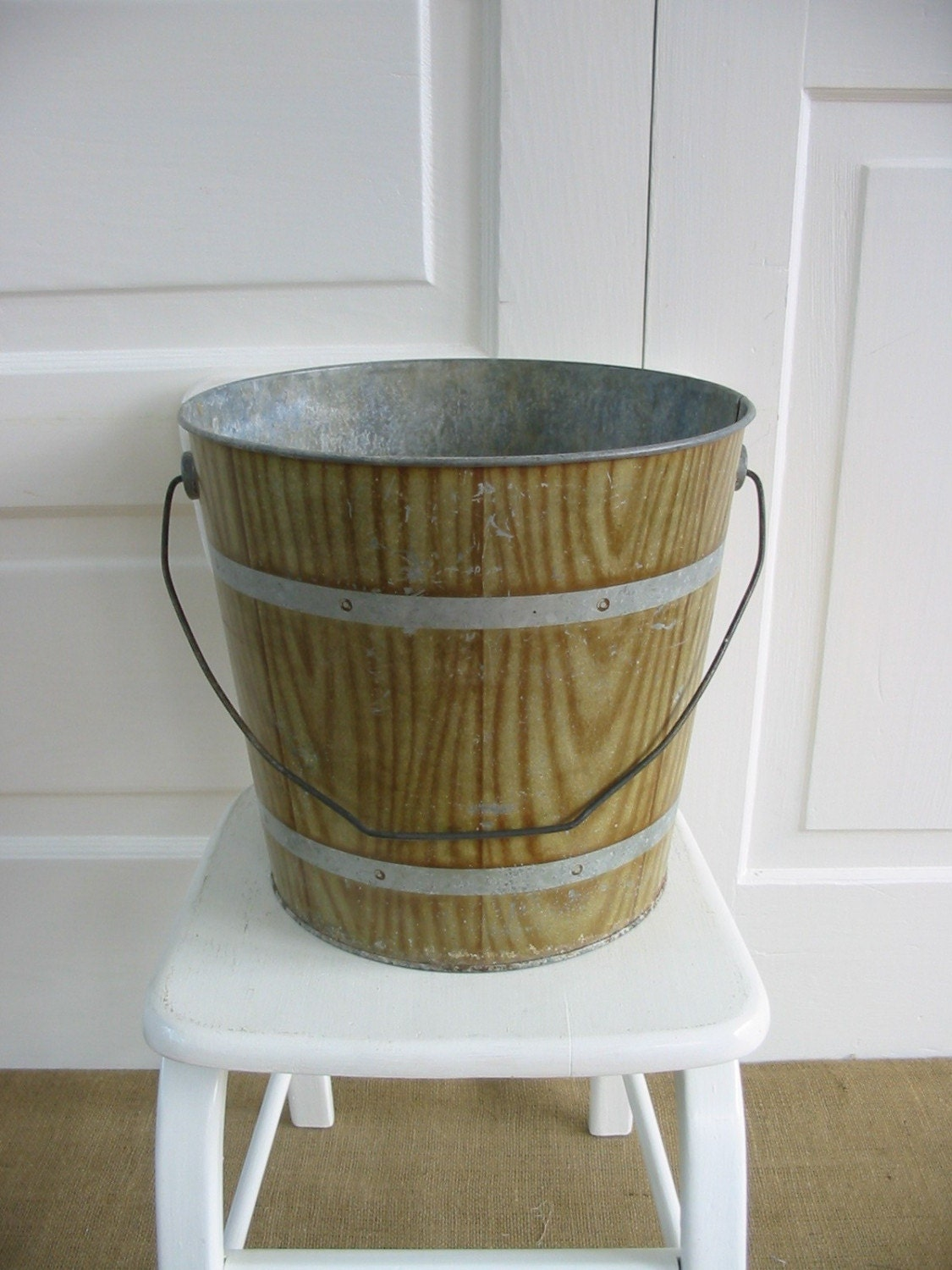 Vintage Faux Wood Metal Bucket
