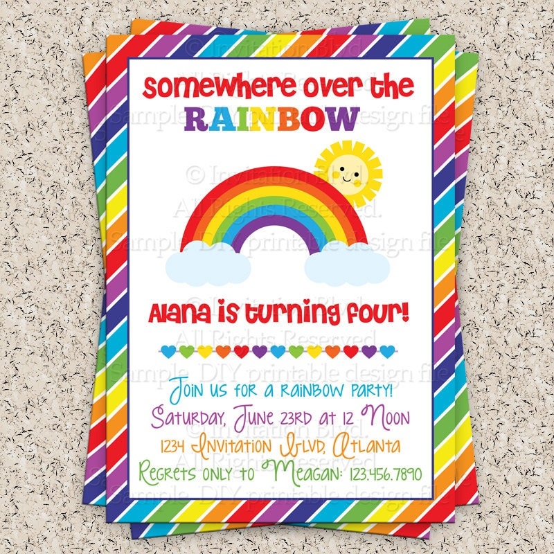 Rainbow Party Invitation Rainbow Invitation by InvitationBlvd