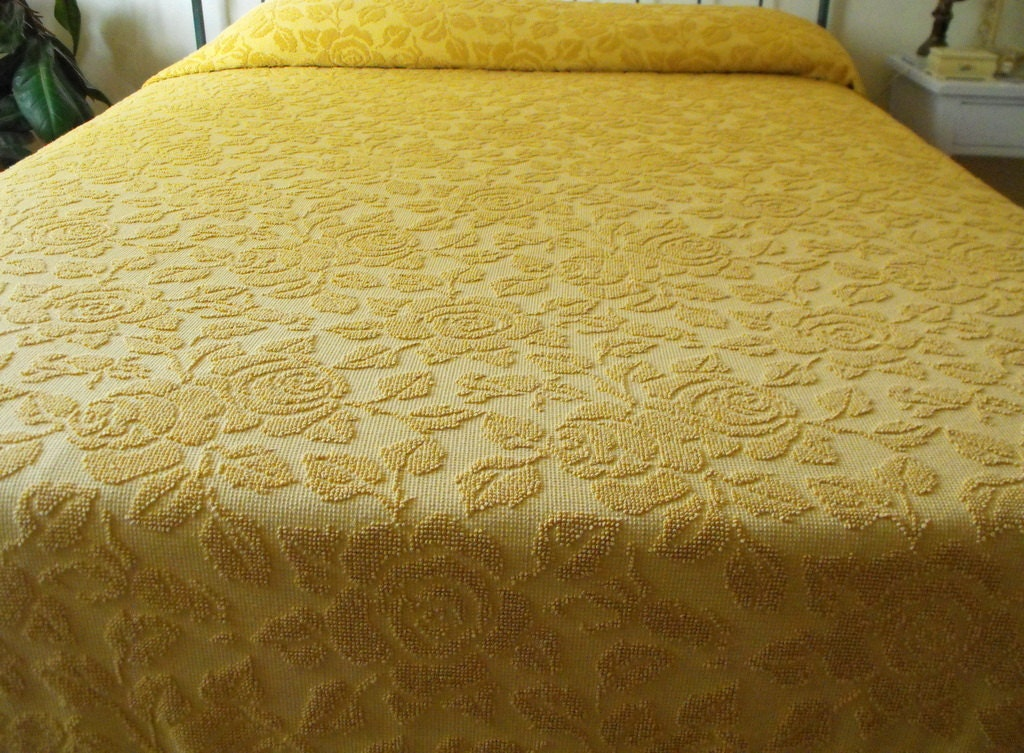 Vintage Chenille Bedspread Hobnail Textured Gold by ShaginyAndTil