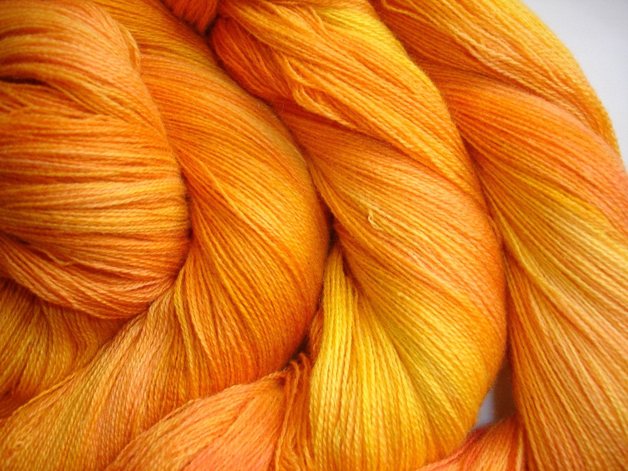 MYSTERY DYER Jump In Hand Dyed Merino Silk Cashmere Lace Weight Yarn  Orange Tangerine Sunshine Gold