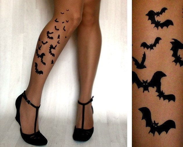 sexy BATS TATTOO thigh-high stockings CAFE LATTE