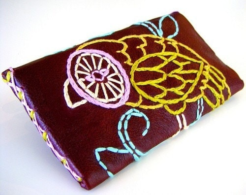 Wallet Leather Embroidered Owl Purple Green Feathers Wing Leaves Vine handmade by sewZinski on Etsy