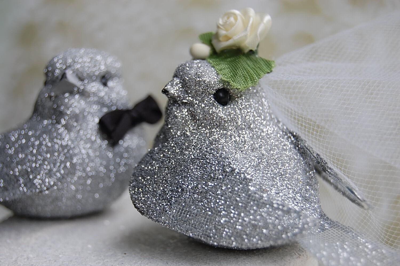 Glittery Love Birds Wedding Cake Topper