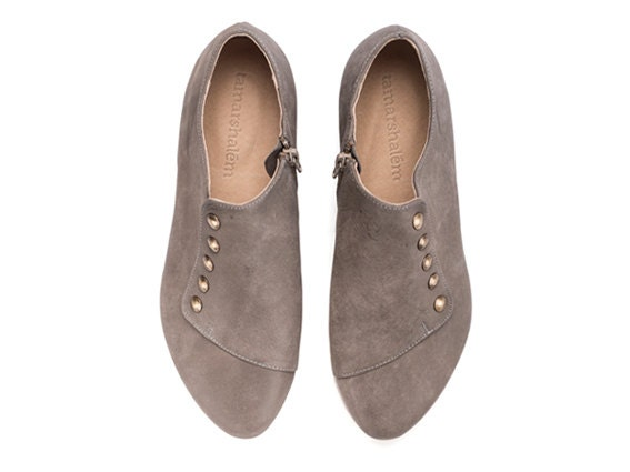 WINTER SALE, Grace, grey Flats, flat shoes, leather shoes - TamarShalem