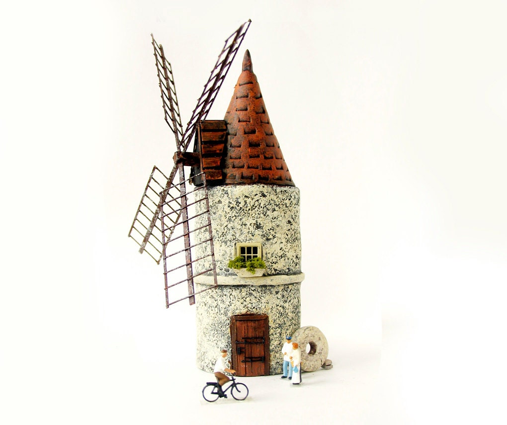 The Hermitage Series - Miniature French Wheat Milling Stone Windmill - Handmade HO Scale Building - bewilderandpine