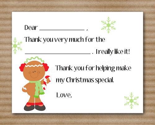 Printable Thank You Cards For Kids Christmas