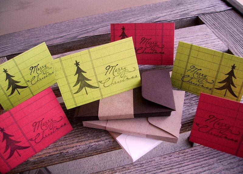 Holiday Mini Enclosure Cards, Place Cards, Holiday Tags with Envelope Choice